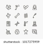 medicine icon set and brain... | Shutterstock .eps vector #1017275959