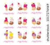birthday anniversary set.... | Shutterstock .eps vector #1017276469