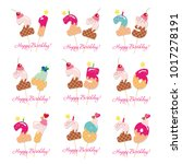birthday cards set. festive... | Shutterstock .eps vector #1017278191