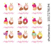 birthday anniversary set.... | Shutterstock .eps vector #1017278194