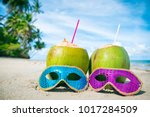 colorful sequined carnival... | Shutterstock . vector #1017284509