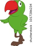 cartoon of a funny parakeet | Shutterstock .eps vector #1017286234