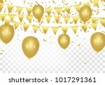 gold balloons  confetti and... | Shutterstock .eps vector #1017291361