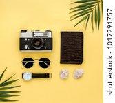 traveler accessories on yellow...   Shutterstock . vector #1017291757
