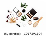 professional makeup brushes and ... | Shutterstock . vector #1017291904