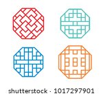 chinese octagon window frame... | Shutterstock .eps vector #1017297901