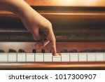 top view woman's hand playing... | Shutterstock . vector #1017300907