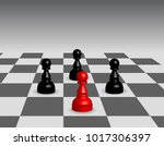 chess board with pawns    Shutterstock .eps vector #1017306397