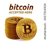 bitcoin. accepted sign emblem.... | Shutterstock .eps vector #1017314524