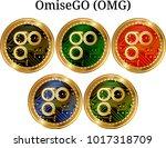 set of physical golden coin...   Shutterstock .eps vector #1017318709