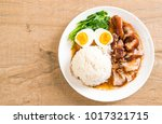 stewed pork leg with rice and... | Shutterstock . vector #1017321715