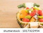 mix sliced fruits  orange ...   Shutterstock . vector #1017322954