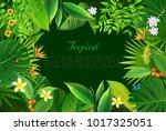 exotic tropical leaf background ... | Shutterstock .eps vector #1017325051