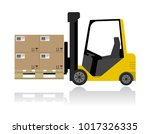 forklift with boxes on pallet | Shutterstock .eps vector #1017326335