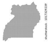 pixel mosaic map of uganda on...