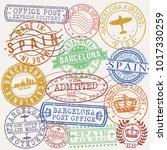 barcelona spain stamp vector... | Shutterstock .eps vector #1017330259