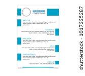 cv resume template for business ... | Shutterstock .eps vector #1017335287