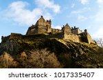 edinburgh castle in the morning ... | Shutterstock . vector #1017335407