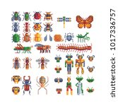 different insects set. pixel... | Shutterstock .eps vector #1017336757