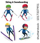 people playing ski and... | Shutterstock .eps vector #1017337951