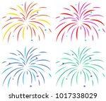 different colors of fireworks... | Shutterstock .eps vector #1017338029