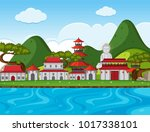 city scene with chinese... | Shutterstock .eps vector #1017338101
