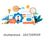 seo  search engine optimization ... | Shutterstock .eps vector #1017339559