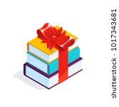 isometric stack of books...   Shutterstock .eps vector #1017343681