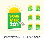 summer sale sun on the tag... | Shutterstock .eps vector #1017345265