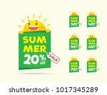 summer sale sun character on... | Shutterstock .eps vector #1017345289