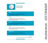 cv resume template for business ... | Shutterstock .eps vector #1017346069