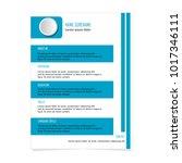 cv resume template for business ... | Shutterstock .eps vector #1017346111