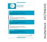 cv resume template for business ... | Shutterstock .eps vector #1017346141