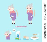 old woman with osteoporosis on... | Shutterstock .eps vector #1017350689