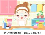 beauty cartoon skin care woman... | Shutterstock .eps vector #1017350764