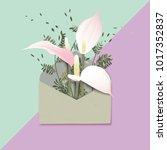 minimalist pastel pink... | Shutterstock .eps vector #1017352837