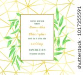 floral wedding invitation with... | Shutterstock .eps vector #1017355591