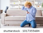 funny man singing songs in... | Shutterstock . vector #1017355684
