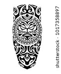leg tattoo with sun maori style  | Shutterstock .eps vector #1017358897