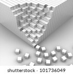 3d white cubes lined up and... | Shutterstock . vector #101736049