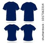 men   women navy blue t shirt... | Shutterstock .eps vector #1017362314