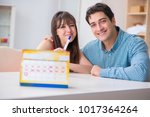 young family in pregnancy... | Shutterstock . vector #1017364264
