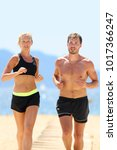 fit athletes couple training... | Shutterstock . vector #1017366247