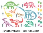 set of colorful dinosaurs with... | Shutterstock .eps vector #1017367885