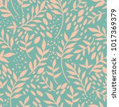 seamless pattern with twigs and ... | Shutterstock .eps vector #1017369379