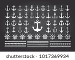 icon set of sea theme on a... | Shutterstock .eps vector #1017369934