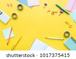 scattered stationery on student'...   Shutterstock . vector #1017375415