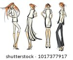 stylish fashion models. pretty... | Shutterstock .eps vector #1017377917