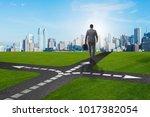 young businessman at crossroads ...   Shutterstock . vector #1017382054