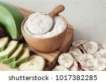 raw and dried green bananas ...   Shutterstock . vector #1017382285